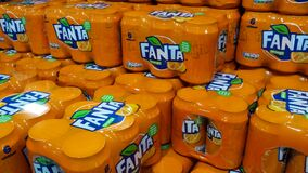 Free Stack Of Fanta Six Pack Orange Fizzy Drink Cans Stock Images - 184712624