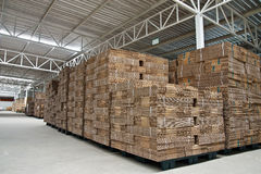 Stack Of Folded Paper Box In Warehouse Stock Photos