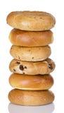 Stack Of Half Dozen Freshly Baked Bagels Royalty Free Stock Photography
