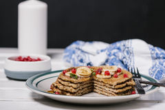 Free Stack Of Healthy Low Carbs Oat Pancakes Stock Photos - 62864483