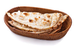 Stack Of Indian Naan Bread In Small Basket Royalty Free Stock Photography