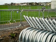 Free Stack Of Metal Security Fences, Assembled Fence In The Background. Concept Event, Concert, Festival, Game, Safety Measures And Stock Photos - 160316563