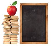 Stack Of Open Books With School Blackboard Royalty Free Stock Images