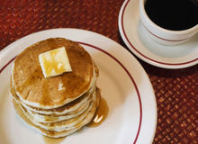 Stack Of Pancakes And Black Coffee Stock Image