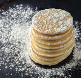 Stack Of Pancakes With Powdered Sugar Stock Photos