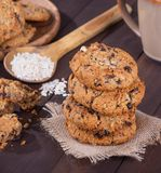 Stack Of Raisin Pecan Oatmeal Cookies Royalty Free Stock Photography