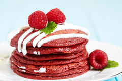 Stack Of Red Velvet Pancakes Royalty Free Stock Image