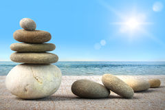 Free Stack Of Spa Rocks On Wood Against Blue Sky Stock Photo - 15189230