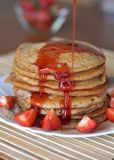 Stack Of Sweet Pancakes With Strawberries And Syrup Stock Image