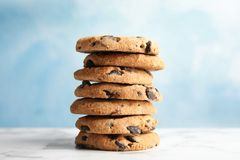 Free Stack Of Tasty Chocolate Chip Cookies Stock Photography - 132300162