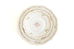Stack Of Three White Plates And Saucers Top View Royalty Free Stock Image
