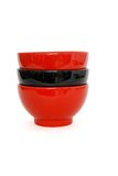 Stack Of Two Red And One Black Porcelain Bowls Iso Royalty Free Stock Photography