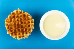 Stack Of Wafers, Bowl With Condensed Milk On Table. Top View Royalty Free Stock Images