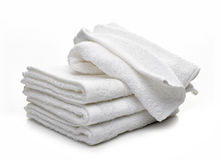 Stack Of White Hotel Towels Royalty Free Stock Photography