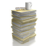 Stack of office files with coffee mug. Stack of manila office folders or files on white background stock illustration