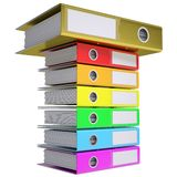 A stack of office folders, folder golden on top. Isolated render on a white background Stock Images
