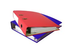 Stack of office folders isolated Royalty Free Stock Photography