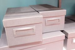Stack of Office Storage Boxes on Shalf Stock Photography