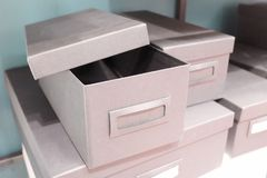 Stack of Office Storage Boxes on Shalf Royalty Free Stock Photos