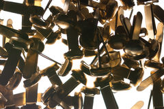 Stack of office supplies brass fasteners paper clips  on Stock Image