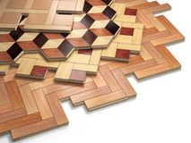 Stack ofr parquet wooden planks. Few types of wooden parquet coa Stock Photo