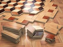 Stack ofr parquet wooden planks. Few types of wooden parquet coa Royalty Free Stock Photography