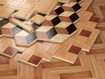Stack ofr parquet wooden planks. Few types of wooden parquet coa Stock Images