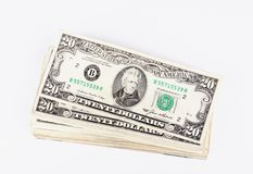 Stack og Dollars bills studio isolated Royalty Free Stock Image