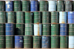 Stack of oil barrels Royalty Free Stock Photos