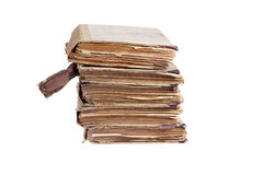 Stack of old antique books. Isolated on white Royalty Free Stock Photo