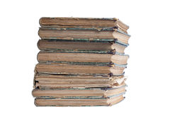 Stack of old antique books. Isolated on white Royalty Free Stock Images