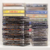Stack of old audio cassettes Royalty Free Stock Photo