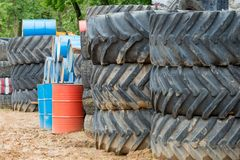 Very big car tires. Stack of old big car tires Royalty Free Stock Images