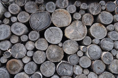 Stack of old birch chocks Stock Images