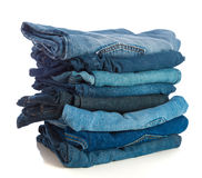Stack of old Blue Jeans Stock Photography