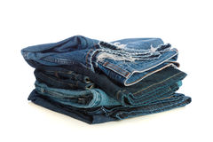 Stack of old Blue Jeans Stock Photos