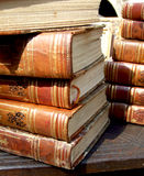 Stack of old books. Exposed on bazaar Stock Image