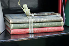 Stack of Old Books. Tied with ribbon Stock Image