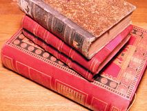 Stack of old books. Detail of some old books Stock Photo