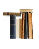 Stack of old books with banknote bookmarks isolate Royalty Free Stock Photos