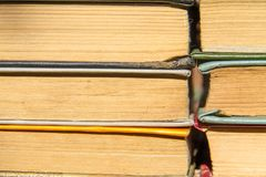 Stack of the old books. Books background Stock Images
