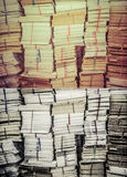 Stack of old books and documents in grunge retro color set Royalty Free Stock Photography
