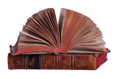 Stack of old books with fanned pages Stock Photo