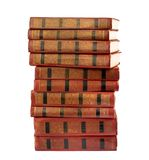 A stack of old books with gold stamping Royalty Free Stock Photos