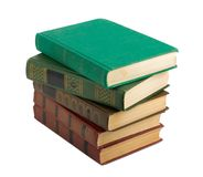 A stack of old books with gold stamping Royalty Free Stock Photography