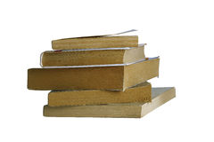 Stack of old books. High stack of different old books. Isolated on white. Clipping path Stock Image