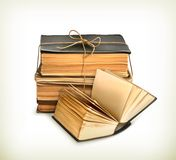 Stack of old books. Illustration on white background Royalty Free Stock Photo