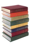 Stack of Old books isolated white Stock Image
