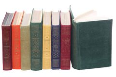 Stack of Old books isolated white Stock Photos