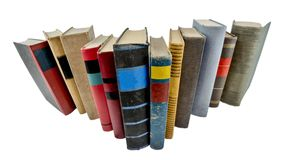 Stack of old books. Isolated on white Royalty Free Stock Image